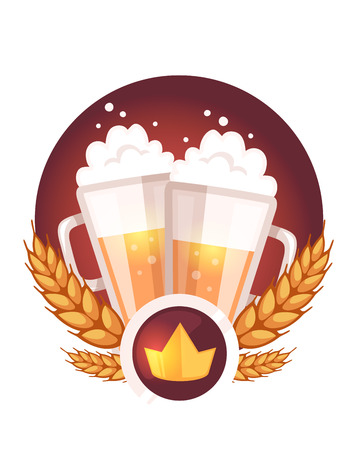 Vector colorful illustration of two big mugs of yellow beer with golden crown, ears wheat, red ribbon and text on white background. Oktoberfest festival and greeting. Realistic design for web, site, card, label, badge,