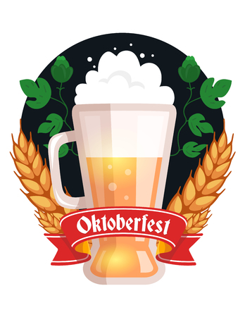Vector colorful illustration of big mug of yellow beer with ears wheat, green leaf hops, red ribbon and text on white background. Oktoberfest festival and greeting. Realistic design for web, site, label, banner, poster, board, card