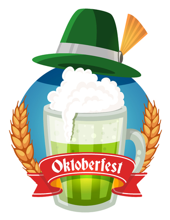 ear drop: Vector colorful illustration of big mug of green beer with hat, yellow ears wheat, red ribbon and text on white background. Oktoberfest festival and greeting. Realistic design for web, site, banner, poster, board, card Illustration