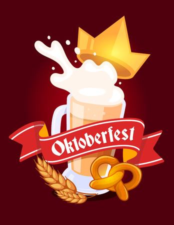 Vector colorful illustration of big mug of yellow beer with golden crown, ears wheat, pretzel, red ribbon and text on dark background. Oktoberfest festival and greeting. Realistic design for web, site, banner, poster, board, card