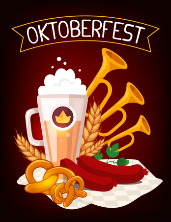 Vector colorful illustration of big mug of yellow beer with ears wheat, green leaf hops, sausage, trumpets, pretzel, tablecloth, ribbon and text on dark background. Oktoberfest festival and greeting. Realistic design for web, site, banner, poster, board,  Illustration
