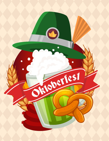 glassful: Vector colorful illustration of big mug of green beer with hat, yellow pretzel, sausage, ears wheat, red ribbon and text on light rhombus pattern background. Oktoberfest festival and greeting. Realistic design for web, site, banner, poster, board, card