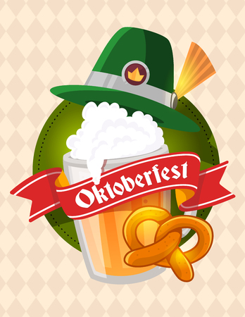Vector colorful illustration of big mug of yellow beer with green hat, pretzel, red ribbon and text on light rhombus pattern background. Oktoberfest festival and greeting. Realistic design for web, site, banner, poster, board, card