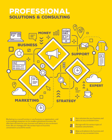 Vector creative concept illustration of graph business project with header, text on yellow background. Business consulting composition poster template. Flat thin line art style monochrome design of business infographics