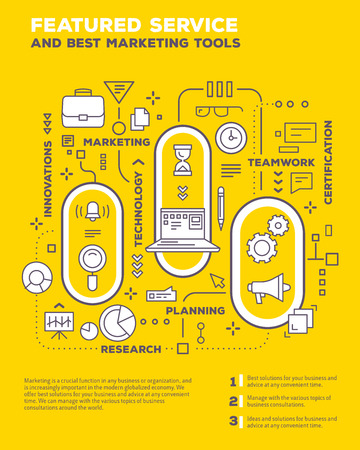 Vector creative concept illustration of graph business project with header, text on yellow background. Service composition poster template. Flat thin line art style monochrome design of business infographics