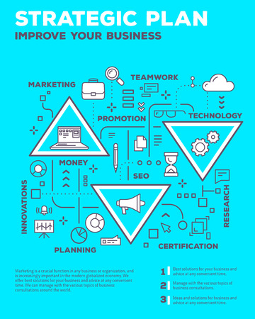 Vector creative concept illustration of graph business project with header, text on blue background. Planning composition poster template. Flat thin line art style monochrome design of business infographics Illustration
