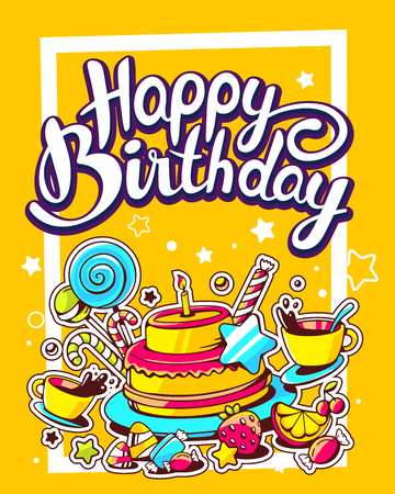 Vector creative colorful illustration of cake with candle, sweets, cup of tea and text happy birthday on yellow background with stars and dot. Happy birthday template. Flat style hand drawn line art design of cake for card, poster Illustration
