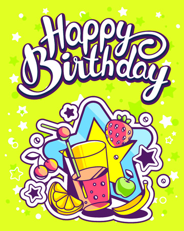 big star: Vector creative colorful illustration of glass of juice with fruits, big star, text happy birthday on green background with star. Happy birthday template. Flat style hand drawn line art design of juice for card, poster Illustration