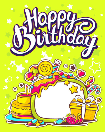 Vector creative colorful illustration of cake, gift box, sweets with frame, text happy birthday on green background with star. Happy birthday template. Flat style hand drawn line art design for birthday card, poster