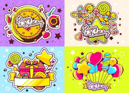 sweetness: Vector creative colorful set of birthday illustration with balloons, gift box, cake and other sweetness, text happy birthday on color background. Happy birthday templates. Flat style hand drawn line art design for sweet food card, poster, banner
