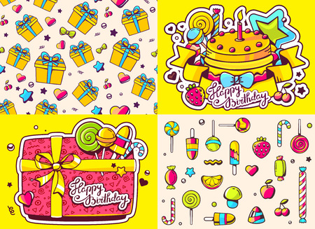 sweetness: Vector creative colorful set of birthday illustration with gift box, cake, sweetness, text happy birthday on color background and two seamless patterns. Happy birthday templates. Flat style hand drawn line art design for card, poster, banner, wrapping pap