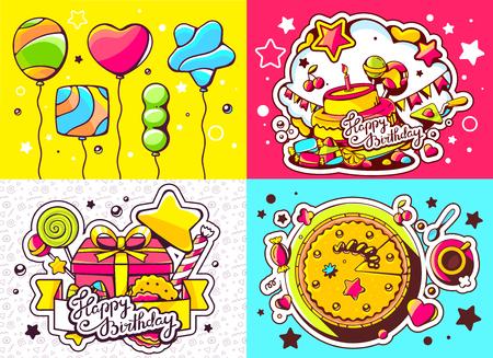 vector creativo conjunto de colores de la ilustracin de cumpleaos con globos caja de regalo