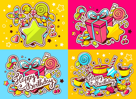 Vector creative colorful set of birthday illustration with gift box, cake, star and other sweetness, text happy birthday on color background. Happy birthday templates. Flat style hand drawn line art design for sweet food card, poster, banner Illustration