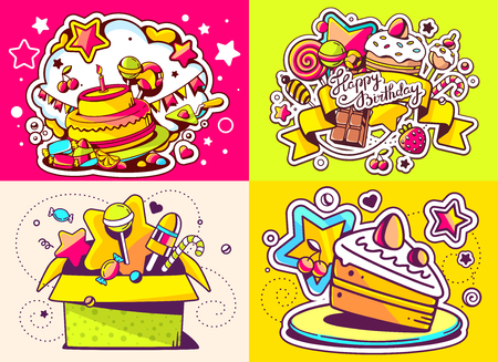 sweetness: Vector creative colorful set of birthday illustration with gift box, cake and other sweetness, text happy birthday on color background. Happy birthday templates. Flat style hand drawn line art design for sweet food card, poster, banner