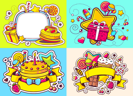 sweetness: Vector creative colorful set of birthday illustration with gift box, star, frame, ribbon, cake, and other sweetness, text happy birthday on color background. Happy birthday templates. Flat style hand drawn line art design for sweet food card, poster, bann