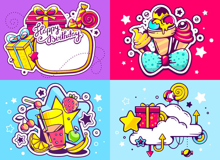 sweetness: Vector creative colorful set of birthday illustration with gift box, star, frame, ice cream and other sweetness, text happy birthday on color background. Happy birthday templates. Flat style hand drawn line art design for sweet food card, poster, banner