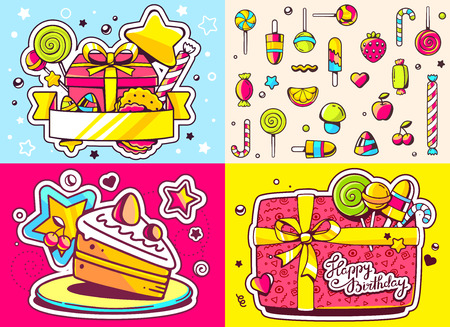 sweetness: Vector creative colorful set of birthday illustration with gift box, cake, sweetness, text happy birthday on color background and seamless pattern. Happy birthday templates. Flat style hand drawn line art design for card, poster, banner, wrapping paper Illustration