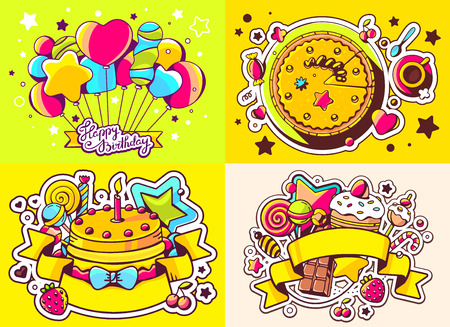 sweetness: Vector creative colorful set of birthday illustration with balloons, cake and other sweetness, text happy birthday on color background. Happy birthday templates. Flat style hand drawn line art design for sweet food card, poster, banner