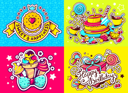 sweetness: Vector creative colorful set of birthday illustration with gift box, cake, cookie, ice cream and other sweetness, text happy birthday on color background. Happy birthday templates. Flat style hand drawn line art design for sweet food card, poster, banner