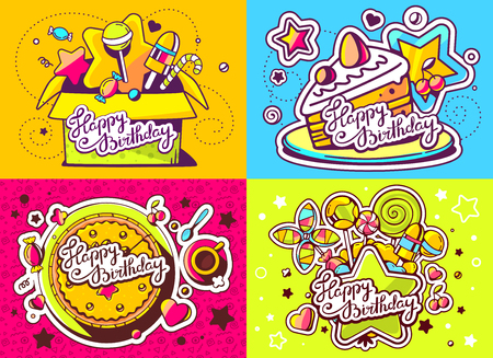 Vector creative colorful set of birthday illustration with gift box, cake, star and sweetness, text happy birthday on color background. Happy birthday templates. Flat style hand drawn line art design for sweet food card, poster, banner Illustration
