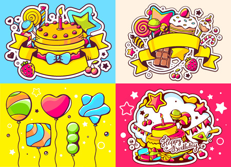 sweetness: Vector creative colorful set of birthday illustration with balloons, cake, ribbon and sweetness, text happy birthday on color background. Happy birthday templates. Flat style hand drawn line art design for sweet food card, poster, banner Illustration
