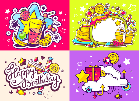 sweetness: Vector creative colorful set of birthday illustration with gift box, star, cloud, juice and sweetness on color background. Happy birthday and celebration templates. Flat style hand drawn line art design for sweet food card, poster, banner