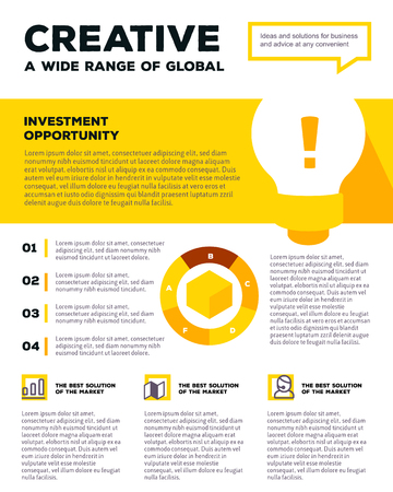 blank poster: Vector corporate business template infographic with light bulb, chart, icons, header, text on white and yellow background. Flat style design of business infographic for annual report, poster, mobile design, print, web