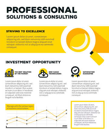 line graph: Vector corporate business template infographic with line graph, magnifier, icons, header, text on white and yellow background. Flat style design of business infographic for annual report, poster, mobile design, print, web