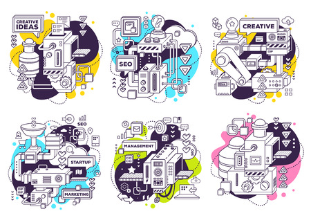 Vector set of illustration of three dimensional black and white mechanism to develop product on white with color background. 3d line art style design for business web, site, banner, poster, print Stock Illustratie