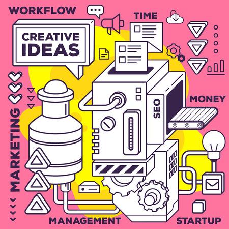 Vector illustratie van drie dimensionale zwart en wit mechanisme om creatieve ideeën op rood met gele achtergrond te ontwikkelen. 3D-lijn art stijl ontwerp voor business web, website, banner, poster, print