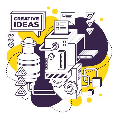 Vector illustratie van drie dimensionale zwart en wit mechanisme om creatieve ideeën op wit met gele achtergrond te ontwikkelen. 3D-lijn art stijl ontwerp voor business web, website, banner, poster, print