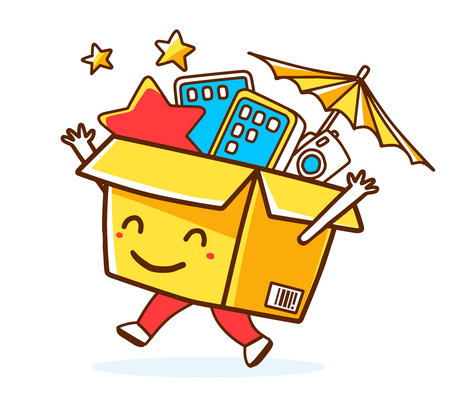 go to store: Vector illustration of colorful smile character shopping box with electronics, star, umbrella inside on white background. Doodle style. Thin line art flat design of shopping box character with hands, legs