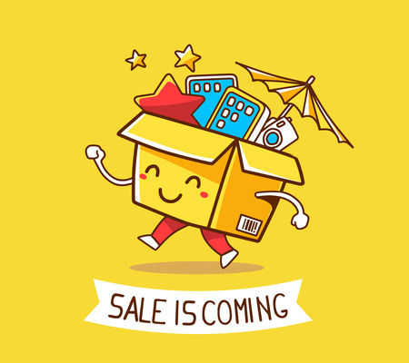 ribon: Vector illustration of colorful cheerful character shopping box with electronics, star, umbrella inside and ribon with text on yellow background. Doodle style. Thin line art flat design of shopping box character with hands, legs