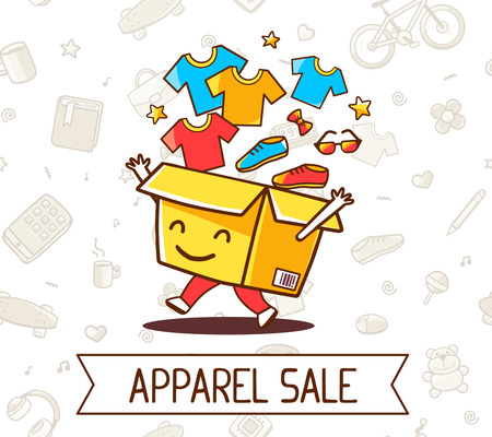 shoe box: Vector colorful illustration of yellow cheerful character shopping box with apparel, shoe  inside and ribon with text on white pattern background. Doodle style. Thin line art flat design of shopping box character with hands, legs Illustration