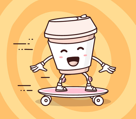 Vector illustration of color smile takeaway coffee cup riding skateboard on yellow background. Skateboarding cartoon concept. Doodle style. Thin line art flat design of character coffee cup for sport, skateboard theme