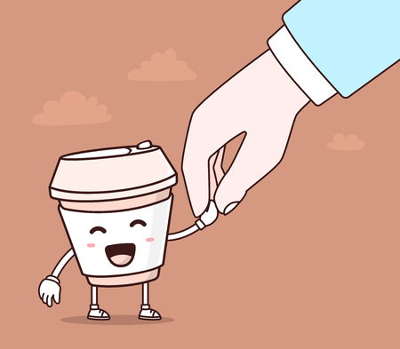 walk away: Vector illustration of color smile takeaway coffee cup and human hand on brown background. Creative cartoon coffee concept. Doodle style. Thin line art flat design of character coffee cup Illustration