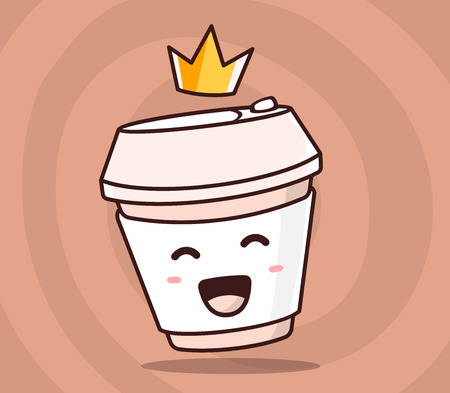 yellow crown: Vector illustration of color smile takeaway coffee cup with yellow crown on brown background. Creative cartoon coffee concept. Doodle style. Thin line art flat design of character coffee cup for best drink theme