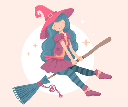 flying hat: Vector colorful halloween illustration of witch character with hat flying on a broomstick on the moon light background. Flat style design for halloween greeting card, poster, banner, web, site