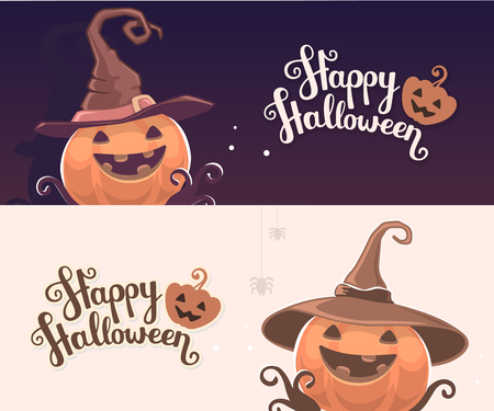 Vector template with halloween illustration of decorative orange pumpkin in witch hat with eyes, smile, teeth and text happy halloween. Flat style design for halloween greeting card, poster, web, site, banner. Ilustração