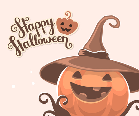 Vector halloween illustration of decorative orange pumpkin in witch hat with eyes, smile, teeth and text happy halloween on light background. Flat style design for halloween greeting card, poster, web, site, banner.
