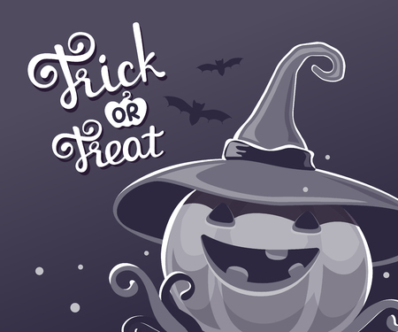 Vector black and white halloween illustration of decorative pumpkin in witch hat with eyes, smile, teeth, bats and text trick or treat. Flat style design for halloween greeting card, poster, web, site, banner. Ilustração