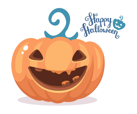 terrible: Vector halloween illustration of decorative orange pumpkin with eyes, smiles, teeth and text happy halloween on white background. Flat style design for halloween greeting card, poster, web, site, banner.