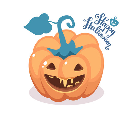 Vector halloween illustration of decorative orange pumpkin with eyes, smiles, teeth and text happy halloween on white background. Top view design for halloween greeting card, poster, web, site, banner.