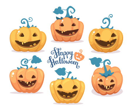 wicked set: Vector halloween illustration of collection decorative orange and yellow pumpkins with eyes, smiles, teeth and text happy halloween on white background. Flat style design for halloween greeting card, poster, web, site, banner. Illustration