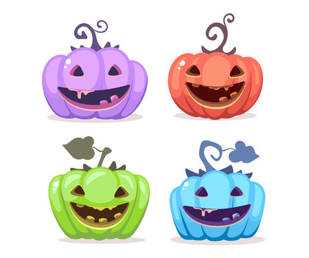 Vector halloween illustration of collection decorative colorful pumpkins with eyes, smiles, teeth on white background. Flat style design for halloween greeting card, poster, web, site, banner.