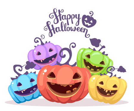Vector halloween illustration of heap decorative pumpkins of different colors with eyes, smiles, teeth and text happy halloween on white background. Flat style design for halloween greeting card, poster, web, site, banner.