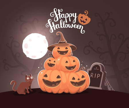 headstone: Vector halloween illustration of pile of decorative orange pumpkins with hat, eyes, smiles, cat, web, moon, headstone at the cemetery and text happy halloween. Flat style design for halloween greeting card, poster, web, site, banner.