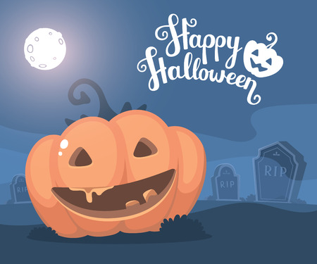 headstone: Vector halloween illustration of decorative orange pumpkin with eyes, smile, full moon, headstone at the cemetery and text happy halloween. Flat style design for halloween greeting card, poster, web, site, banner.