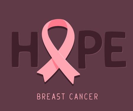 ベクトル ピンク リボン乳がん月間のイラスト暗い背景にがん啓発シンボル、単語を期待します。ポスター、バナー、web サイトのデザインをフラッ  イラスト・ベクター素材