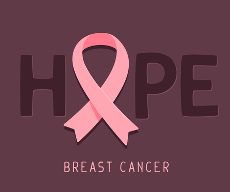 Vector illustration for breast cancer awareness month with pink ribbon, cancer awareness symbol and word hope on dark background. Flat style design for poster, banner, web, site Çizim